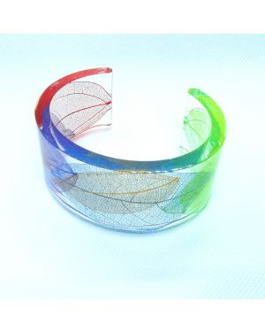 Rainbow leaf skeleton horseshoe bangle