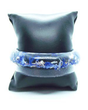 Blue cornflower resin bangle