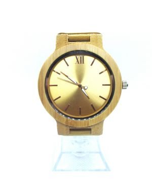 Gold Bamboo women personalised laser engraved watch