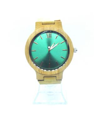 Green Bamboo women personalised laser engraved watch