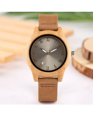 Grey Bamboo women personalised laser engraved watch