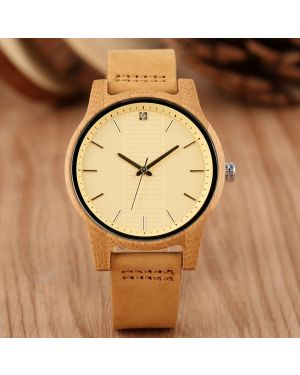 Yellow Bamboo women personalised laser engraved watch