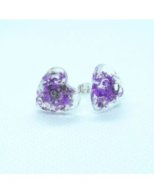 Violet flower heart stud earrings