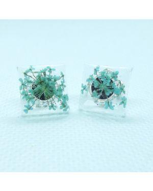 Cyan flower square stud earrings