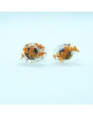 Orange flower oval stud earrings