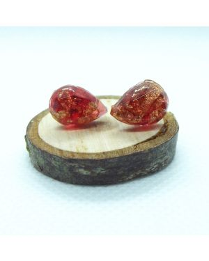 Red resin and gold leaf teardrop stud earrings