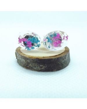 Cyclamen and teal oval stud earrings