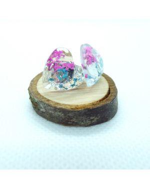 Cyclamen and teal heart stud earrings