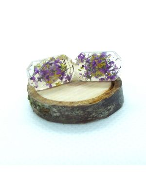 Yellow violet flower baguette stud earrings