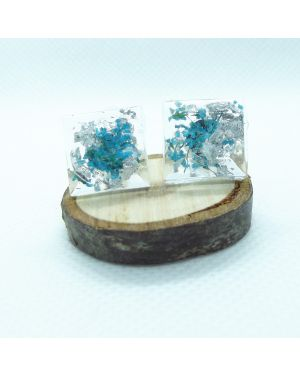 Teal flower and silver leaf square stud earrings