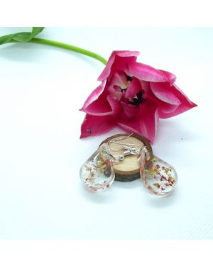 Red flower and gold leaf teardrop earring
