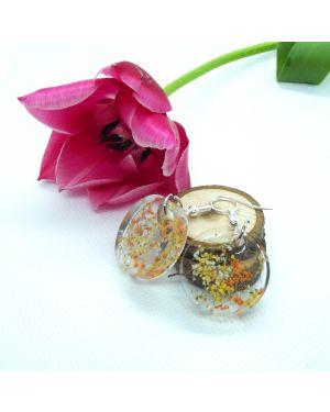 Orange, yellow, white flowers circle earring