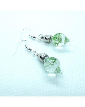 Green flowers dangle earrings