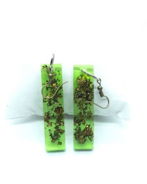 Green resin with gold foil earrings