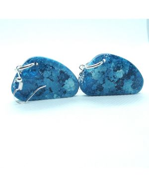 Turquise alcohol ink resin earrings
