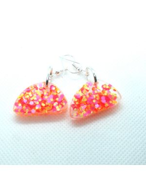 Pink yellow confetti glitter resin earrings