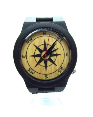 Ebony wood personalised laser engraved mens watch