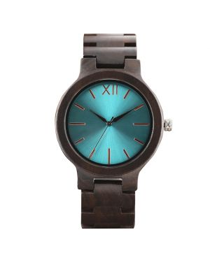 Personalised Laser Engraved Ebony Wood Turquoise Watch