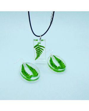 Fern pendant and earrings set