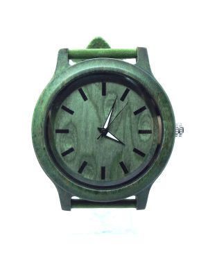 Green bamboo personalised laser engraved watch