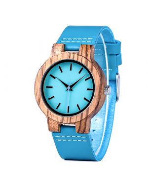 Zebrawood blue personalised laser engraved women watch