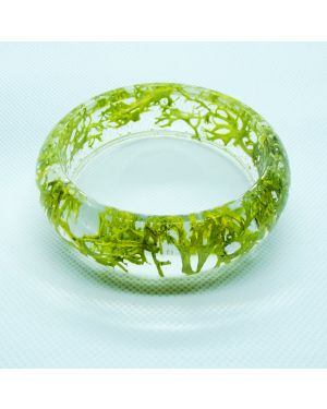Clear resin bangle with wolf lichen