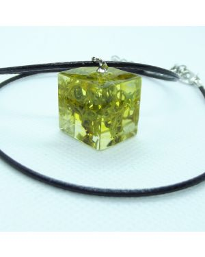 Lichen cube pendant