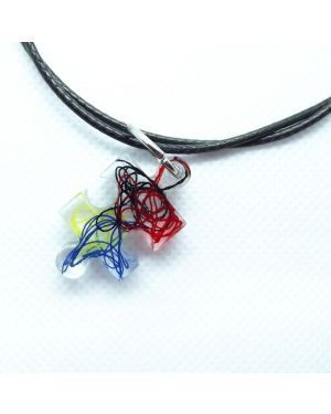 Autism symbol pendant on wax leather cord