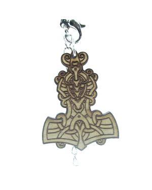 Wooden laser cut Mjölnir (Thor`s hammer)  pendant