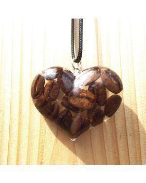 Coffee beans heart resin pendant