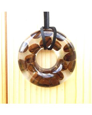 Coffee beans doughnut resin pendant