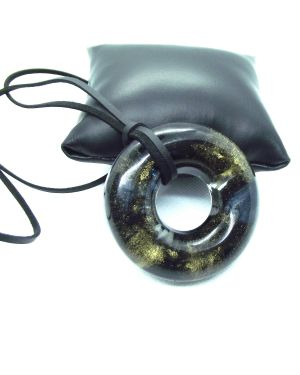 Black and gold alcohol ink doughnut resin pendant