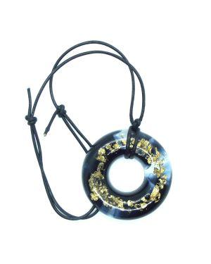 Black and gold foil doughnut resin pendant