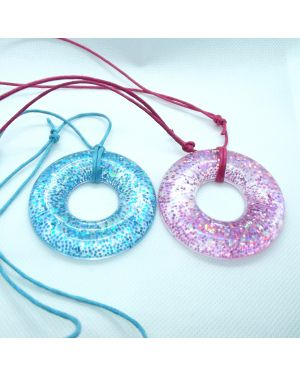 Pink or blue glitter resin doughnut pendant