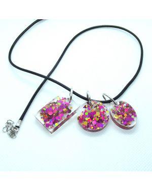 Pink gold confetti glitter pendants set
