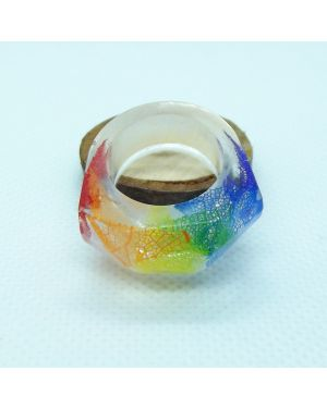 Rainbow leaf skeleton resin ring