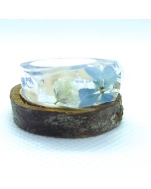 Real mixed flowers resin ring