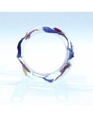 Pink and blue cornflower resin ring