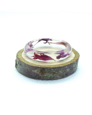 Pink cornflower narrow resin ring
