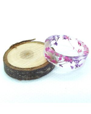 Real violet and pink flower flat resin ring