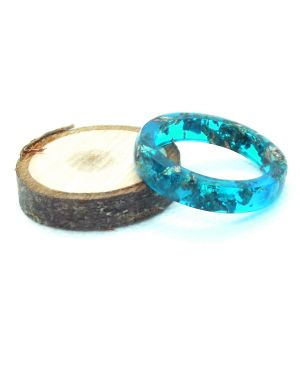 Antique leaf aqua green resin ring