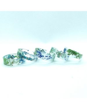Real blue and green flower flat resin ring