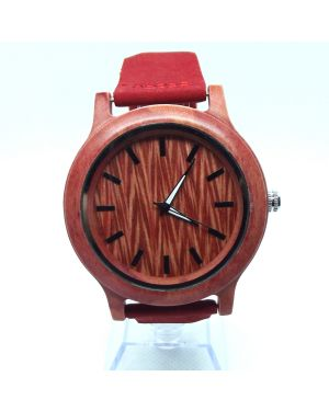 Red bamboo personalised laser engraved watch