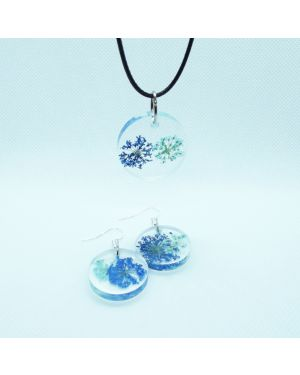 Oval flowers pendant and earrings set