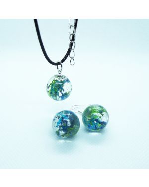 Blue flowers orb earrings and pendant set
