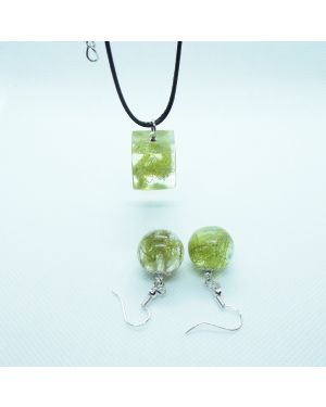 Lichen orb earrings and cube pendant set