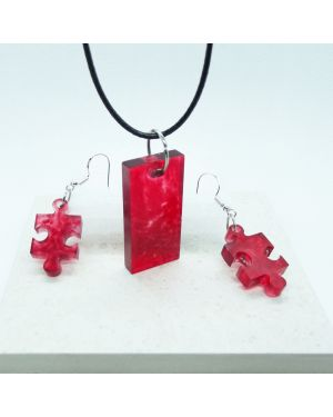 Red coloured, marble effect pendant and earrings set