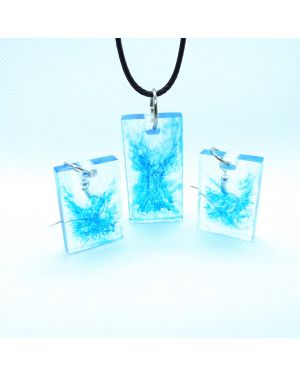 Sky blue marble effect pendant and earrings set