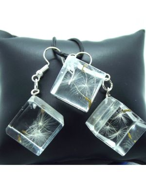 Dandelion seeds cuber resin pendant and earrings set