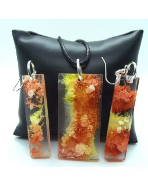 Orange-yellow alcohol ink resin pendant and earrings set